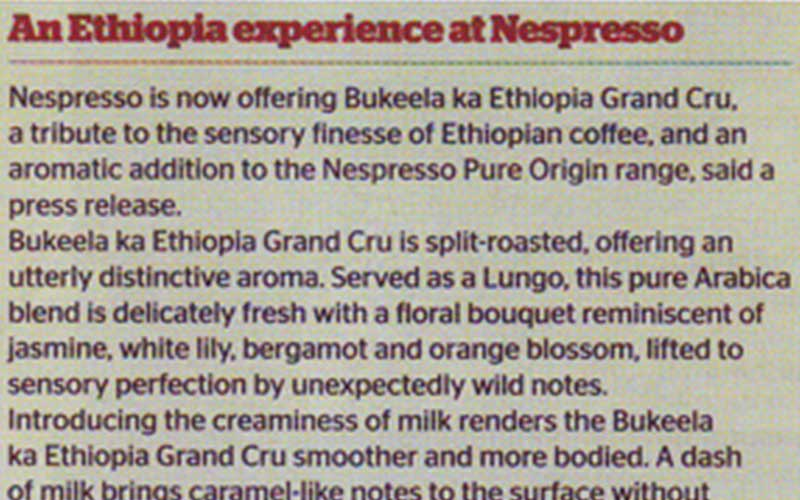 Nespresso unveils Pure Origin Grand Cru from Ethiopia
